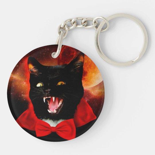 cat vampire - black cat - funny cats Double-Sided round acrylic keychain
