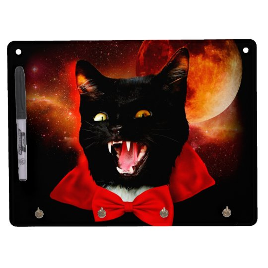cat vampire - black cat - funny cats dry erase board with keychain holder