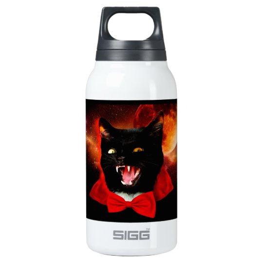 cat vampire - black cat - funny cats insulated water bottle