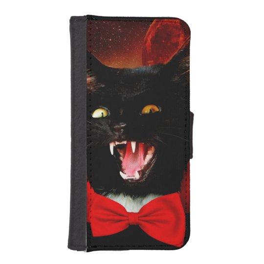 cat vampire - black cat - funny cats iPhone SE/5/5s wallet case