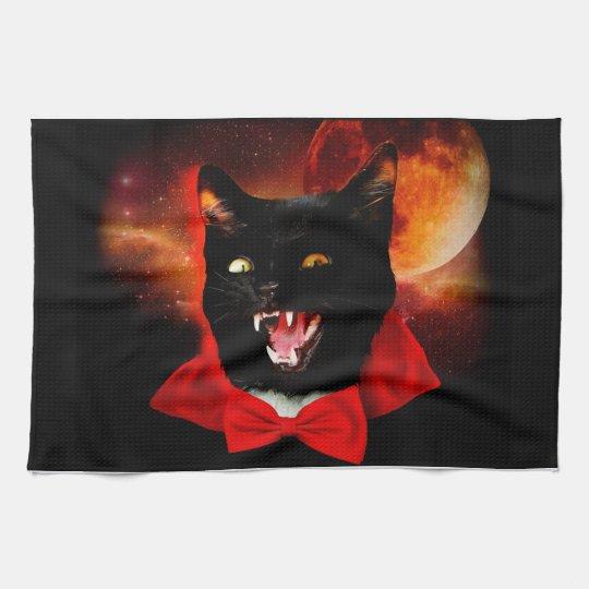 cat vampire - black cat - funny cats kitchen towel