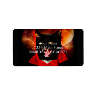 cat vampire - black cat - funny cats label