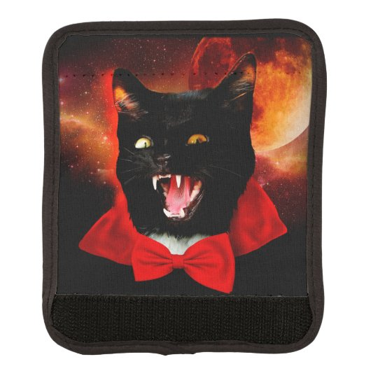 cat vampire - black cat - funny cats luggage handle wrap