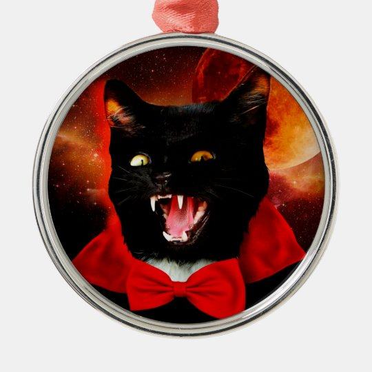cat vampire - black cat - funny cats metal ornament