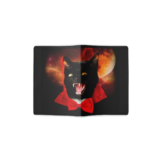 cat vampire - black cat - funny cats passport holder
