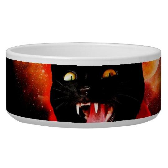 cat vampire - black cat - funny cats pet food bowl
