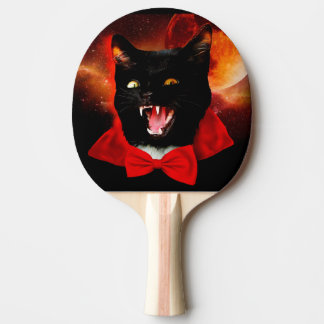 cat vampire - black cat - funny cats ping pong paddle