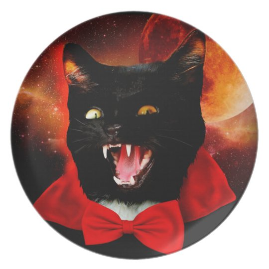 cat vampire - black cat - funny cats plate