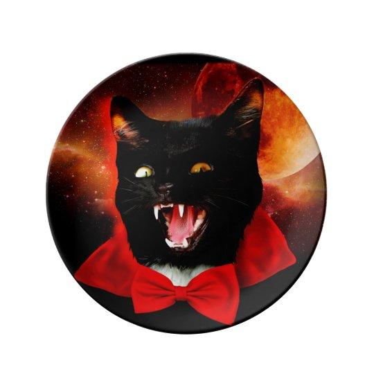 cat vampire - black cat - funny cats porcelain plate