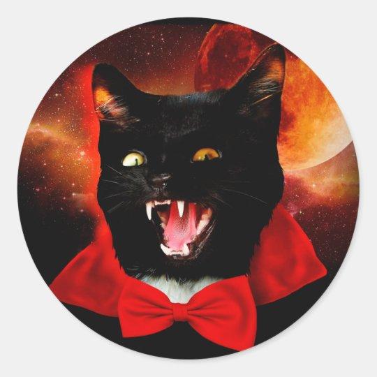 cat vampire - black cat - funny cats round sticker