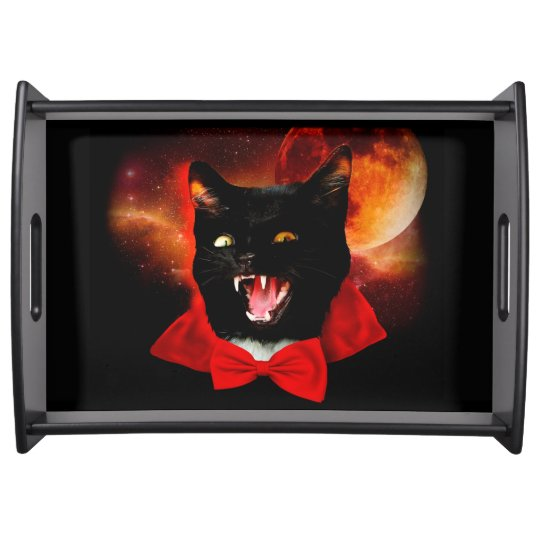 cat vampire - black cat - funny cats serving tray