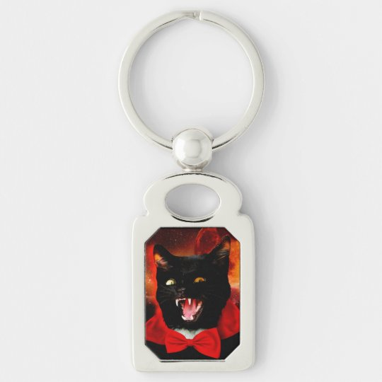 cat vampire - black cat - funny cats Silver-Colored rectangle keychain
