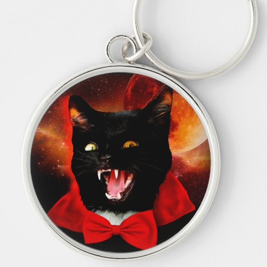 cat vampire - black cat - funny cats Silver-Colored round keychain