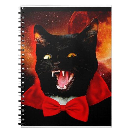 cat vampire - black cat - funny cats spiral notebook