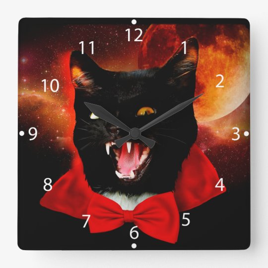 cat vampire - black cat - funny cats square wall clock