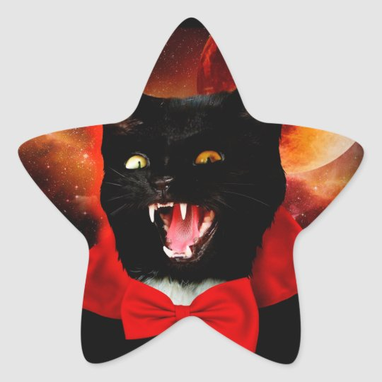 cat vampire - black cat - funny cats star sticker