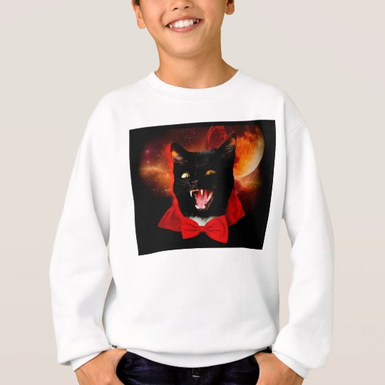 cat vampire - black cat - funny cats sweatshirt