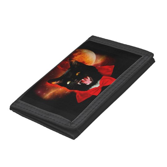 cat vampire - black cat - funny cats trifold wallets