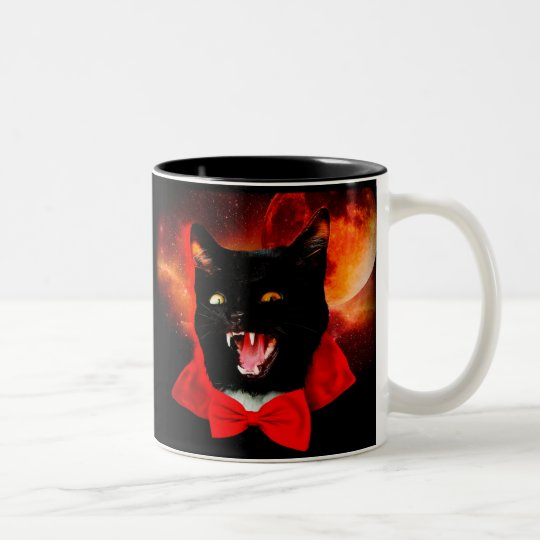 cat vampire - black cat - funny cats Two-Tone coffee mug