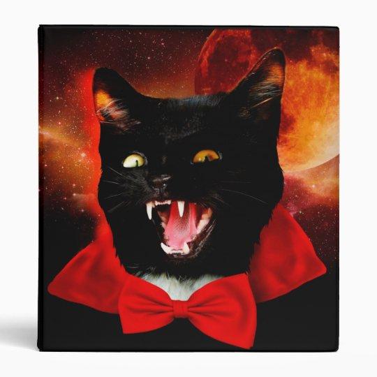 cat vampire - black cat - funny cats vinyl binder