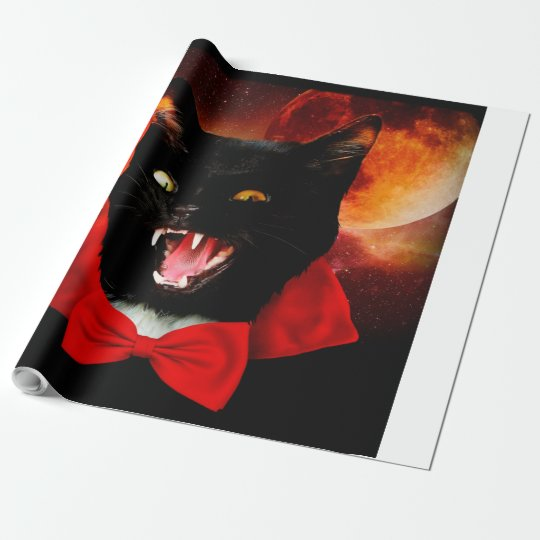 cat vampire - black cat - funny cats wrapping paper