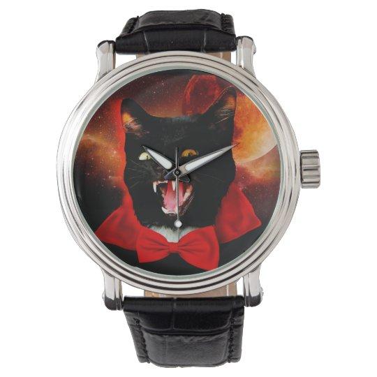 cat vampire - black cat - funny cats wrist watch