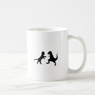 cat vs t-rex coffee mug