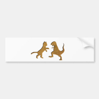 CAT VS T-REX VINTAGE TEXTURE BUMPER STICKER