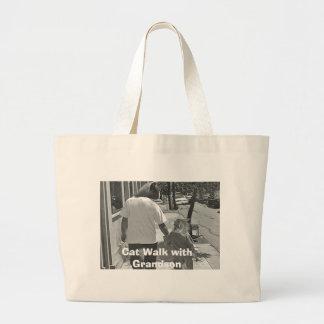 Cat Walk with Grandson Large Tote Bag