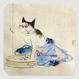 Cat wash her body, Utagawa Hiroshige Square Sticker