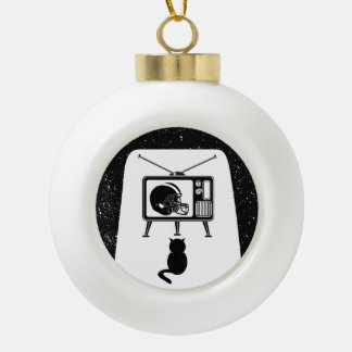 Cat Watching T.V. Ceramic Ball Christmas Ornament