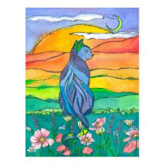 Cat Watercolor Flowers Postcard
