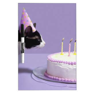 Cat wearing birthday hat blowing out candles on Dry-Erase boards