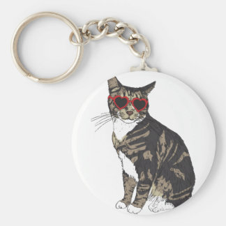 Cat Wearing Heart Glasses Basic Round Button Keychain