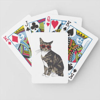 Cat Wearing Heart Glasses Bicycle Playing Cards