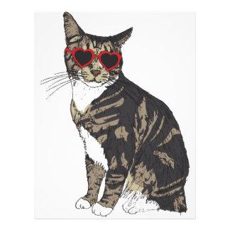 Cat Wearing Heart Glasses Custom Letterhead