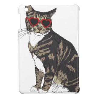 Cat Wearing Heart Glasses iPad Mini Cover