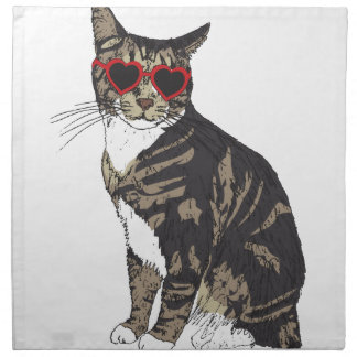 Cat Wearing Heart Glasses Napkin