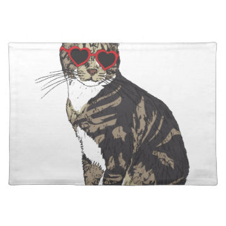 Cat Wearing Heart Glasses Placemat
