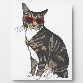 Cat Wearing Heart Glasses Plaque