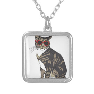 Cat Wearing Heart Glasses Silver Plated Necklace