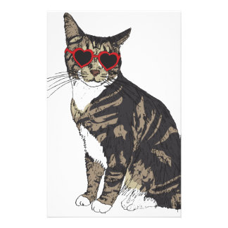 Cat Wearing Heart Glasses Stationery