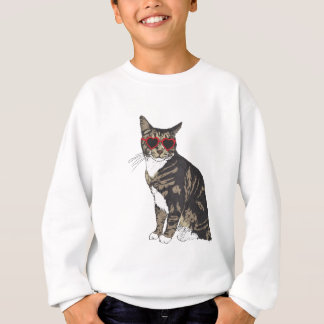 Cat Wearing Heart Glasses Sweatshirt