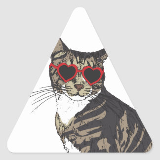 Cat Wearing Heart Glasses Triangle Sticker