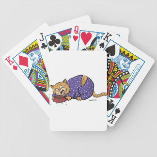 Cat Wearing Purple Polka Dots Pajama Bicycle Playing Cards