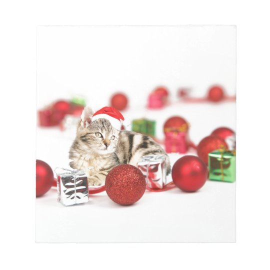 Cat wearing red Santa hat Christmas Ornament Notepad