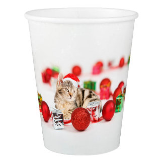 Cat wearing red Santa hat Christmas Ornament Paper Cup