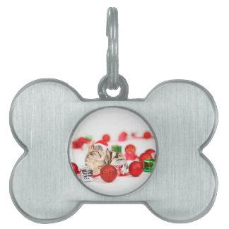 Cat wearing red Santa hat Christmas Ornament Pet ID Tag