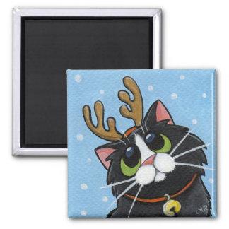 Cat Wearing Reindeer Antlers Magnet