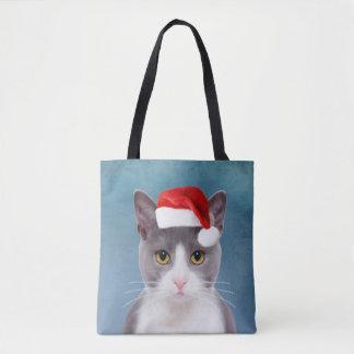 Cat wearing Santa Hat Christmas Portrait Tote Bag